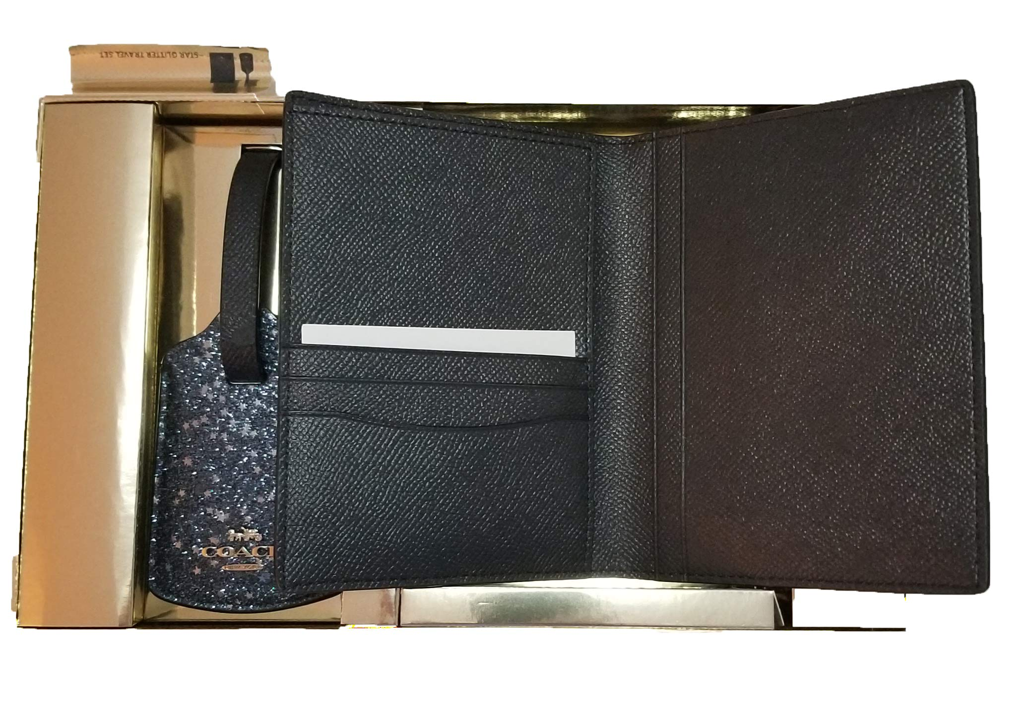 Coach Crossgrain Leather Passport Case & Crossgrain Leather Luggage Tag Travel Gift Box Set F38644 (Midnight/Silver) by COACH (Image #3)
