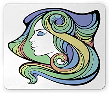 Curly Hair Mouse Pad, Spiritual Girl with Hippie Rainbow ...