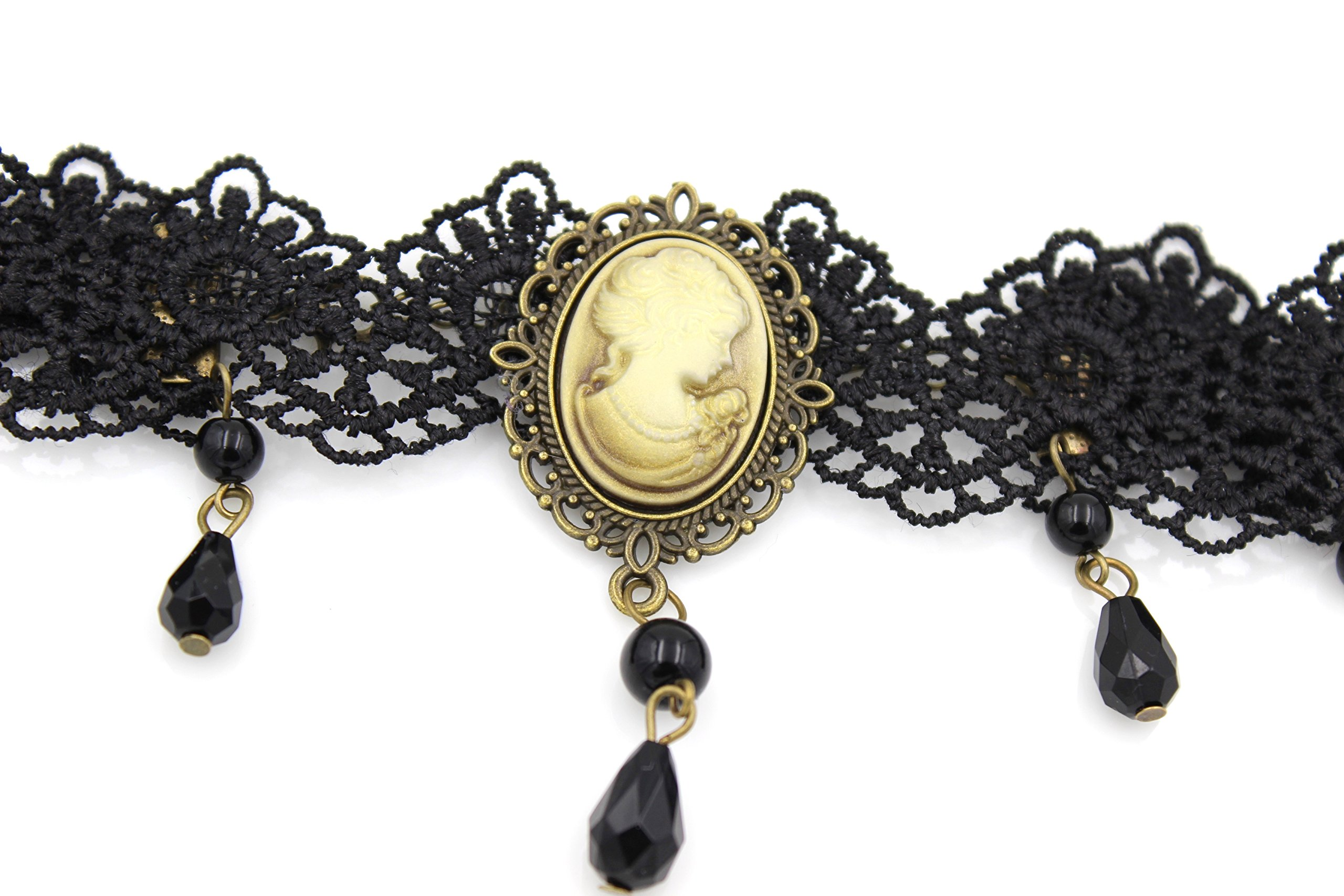 Glazed Black Cherry Steampunk Victorian Lady Cameo Choker Necklace - Gothic Goth - Bead Drop Vintage - Steam Punk - s30 3