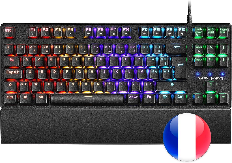 Mars Gaming MKXTKLBFR, Teclado Mecánico RGB LED, Switch Azul, Francés