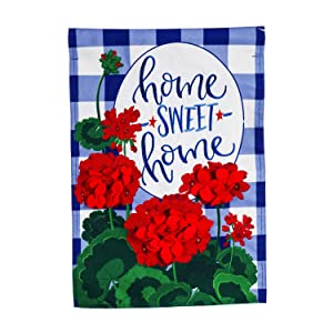 Evergreen Flag Beautiful Plaid Patriotic Geraniums Linen Garden Flag - 13 x 1 x 18 Inches Fade and Weather Resistant Outdoor Decoration For Homes, Yards and Gardens