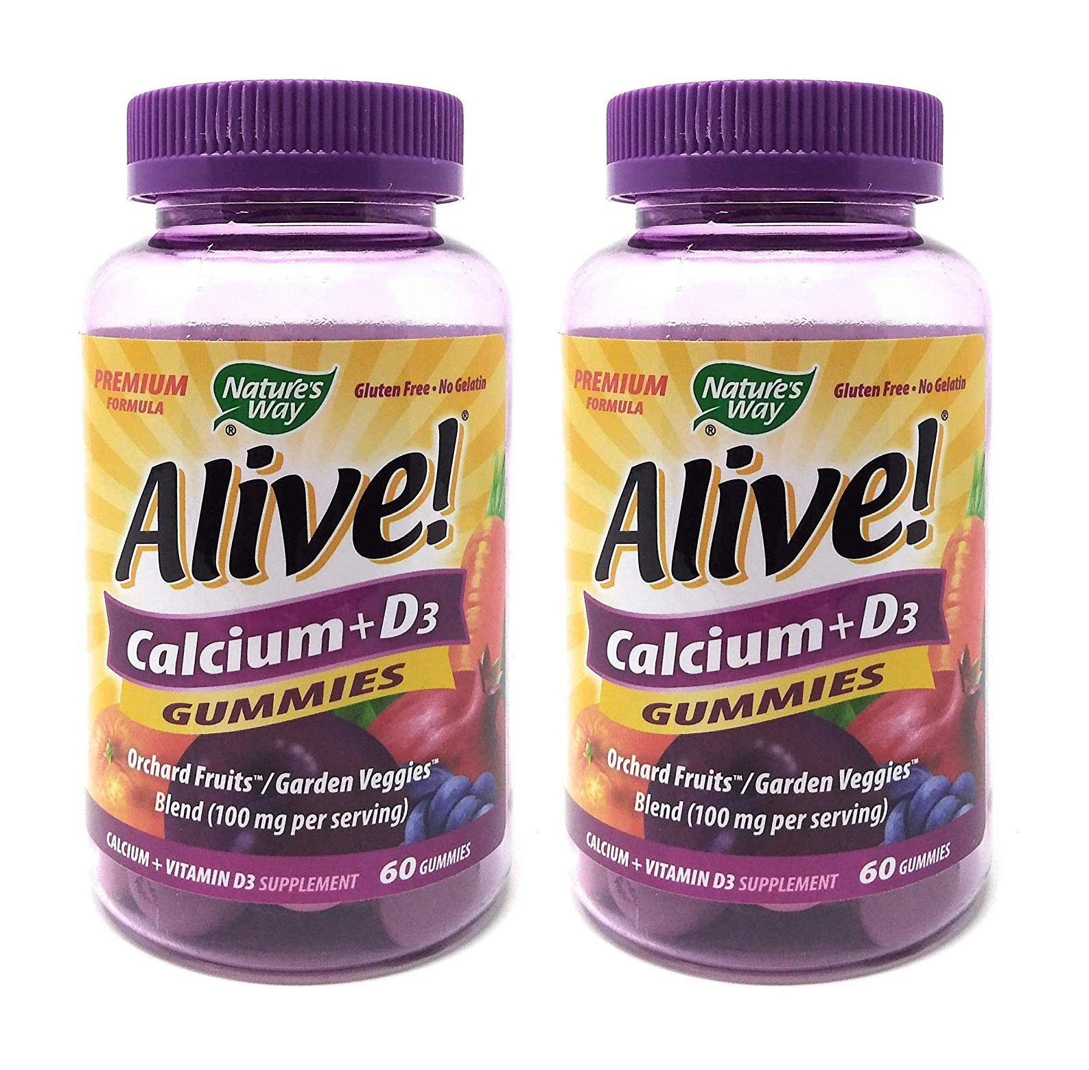 2-Pack Natures Way Alive! Calcium Gummies Plus Vitamin D3 - 60 Gummies Gluten Free