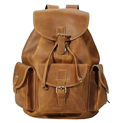 Amazon.com  Polare Thick Genuine Leather Backpack Vintage College Laptop  Bag  Computers   Accessories 9013629919ce