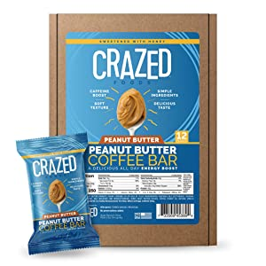 Crazed Foods, Peanut Butter Coffee Energy Bar, Simple Ingredients, Caffeine Boost, Soft Texture, 16g of Protein,12 Bars