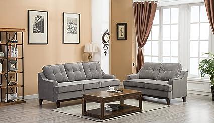 GTU Furniture Grey Microfiber Sofa And Loveseat Living Room Set