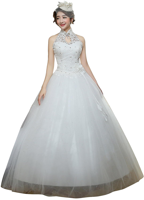 Clover Bridal 2017 Vintage Halter Applique Beaded Ball Gown Wedding