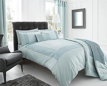 Eleanor James Modern Quilt Duvet Cover Bed Set New, Duck Egg, King ... : modern quilt set - Adamdwight.com