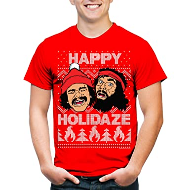 Cheech and Chong Men's Happy Holidaze Christmas Graphic Tee (XL)