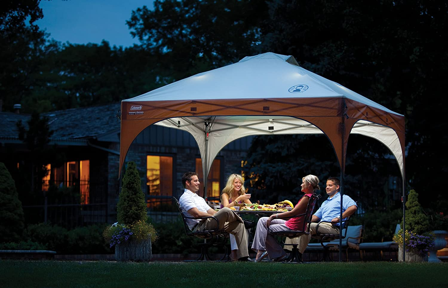 amazon com coleman instant canopy tent with led lighting system 10