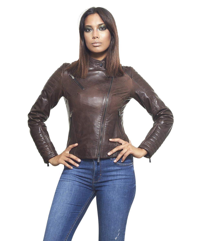KARIM couleur marron foncée veste en cuir femme perfecto