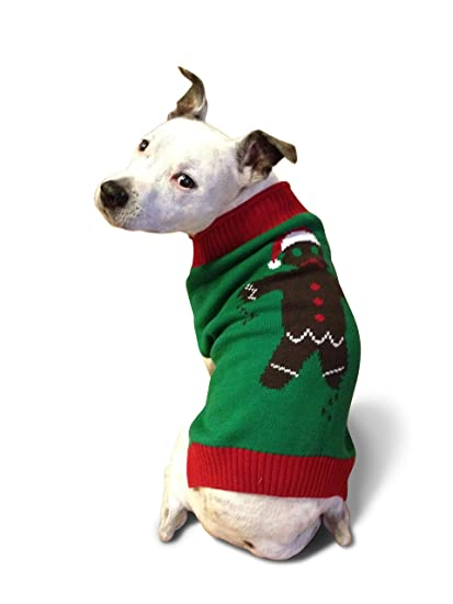 ugly christmas sweater gingerbread man dog sweater large - Large Dog Christmas Sweaters