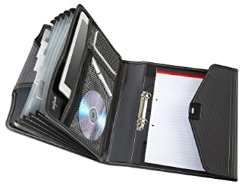 Snopake 15303 - Portafolios para reuniones (A4, incluye archivador de 25 mm con 2 anillas, clasificador con 6 compartimentos y libreta), color negro: ...