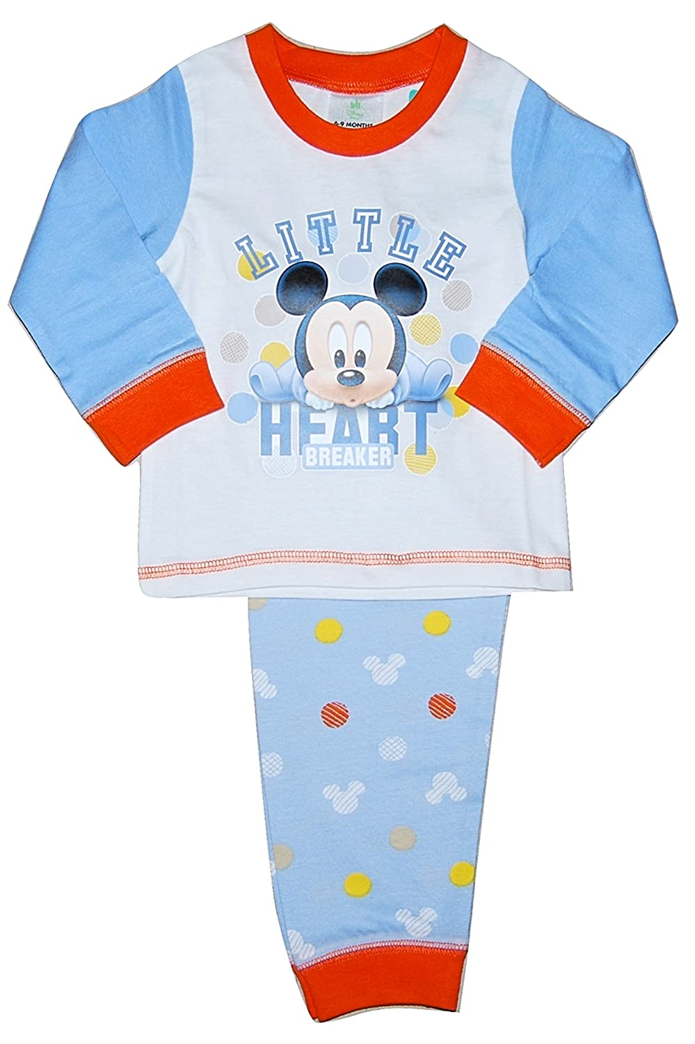 Baby Boy Disney Mickey Mouse Heart PJs Pyjamas Set 6 to 24 Months