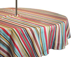 "DII Spring & Summer Outdoor Tablecloth, Spill Proof and Waterproof with Zipper and Umbrella Hole, Host Backyard Parties, BBQs, & Family Gatherings - (60"" Round - Seats 2 to 4) Warm Summer Stripe"