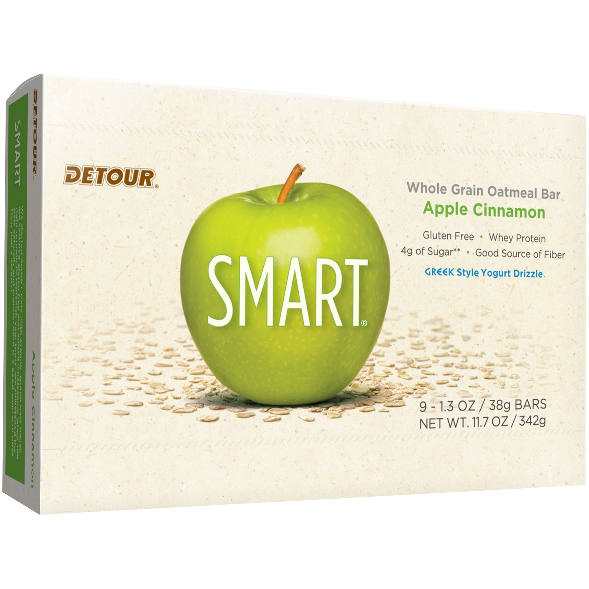Detour Smart Gluten Free Oatmeal Bar, Apple Cinnamon, 11.7 Ounce, 9 Count by Detour