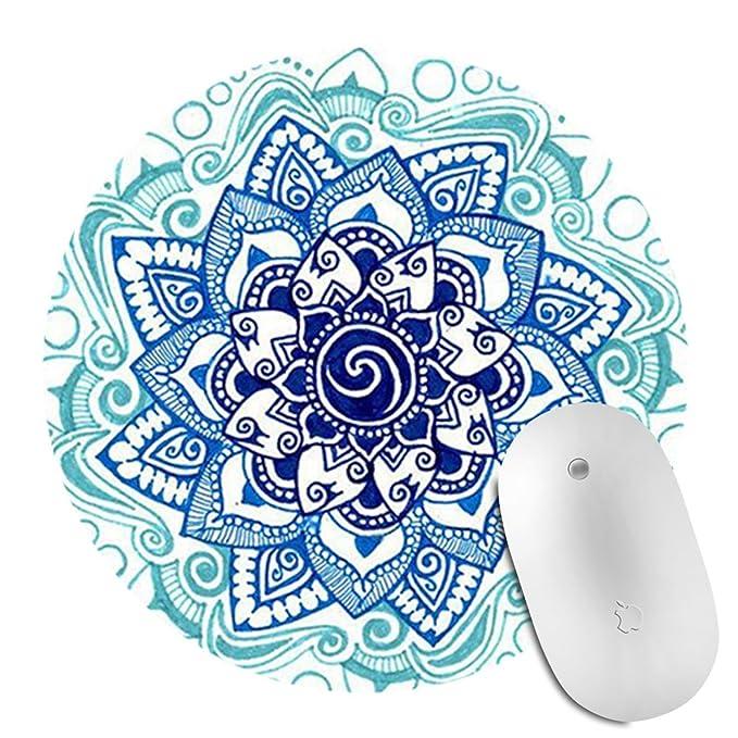 Wknoon Gaming Mouse Pad Custom Design Mat Vintage Watercolor Blue Octopus Painting Art