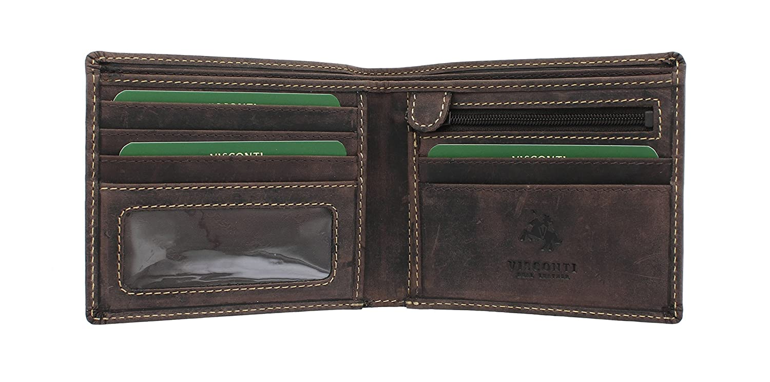 Visconti Cartera SHIELD de Cuero Engrasado Marrón