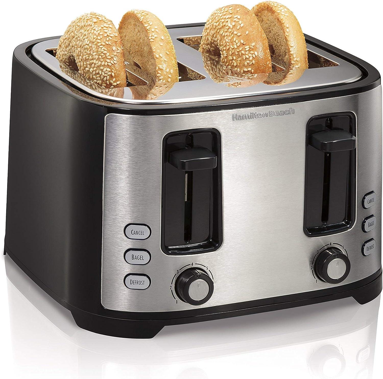 Hamilton Beach Extra-Wide 4-Slice Slot Toaster, Black (24633) (Renewed)