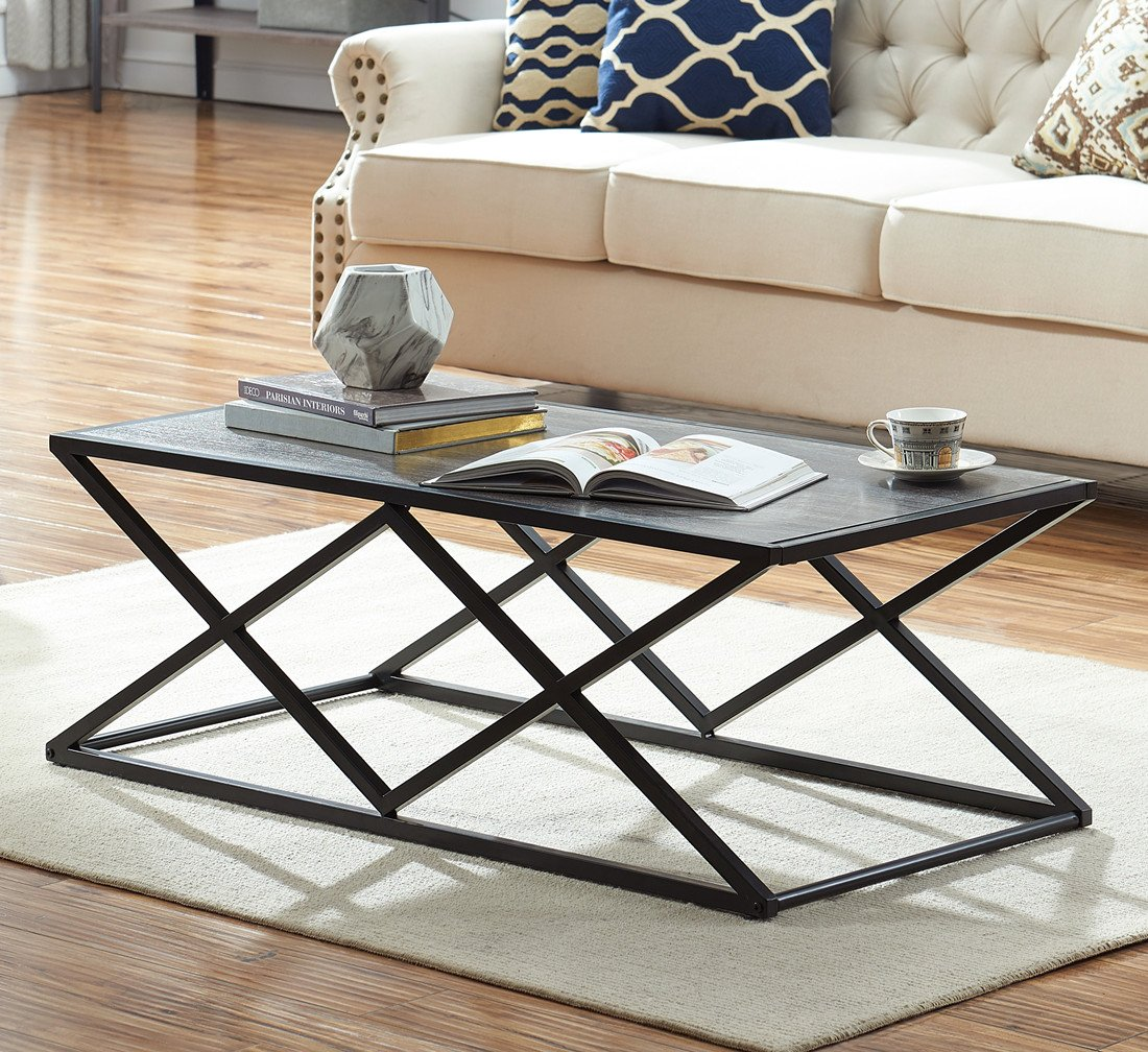 O&K Furniture Modern Industrial Cocktail Coffee Table with Black Metal Frame for Living Room & Office, Gray Finish,1-Pcs