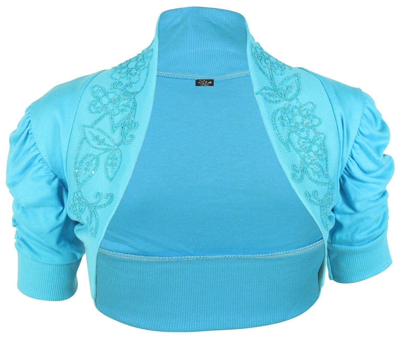 Damen Bolero, kurzärmelig, mit Perlenapplikation und Ärmelraffung,  erhältlich in 7 Farben, Größe 34-40: Amazon.de: Bekleidung