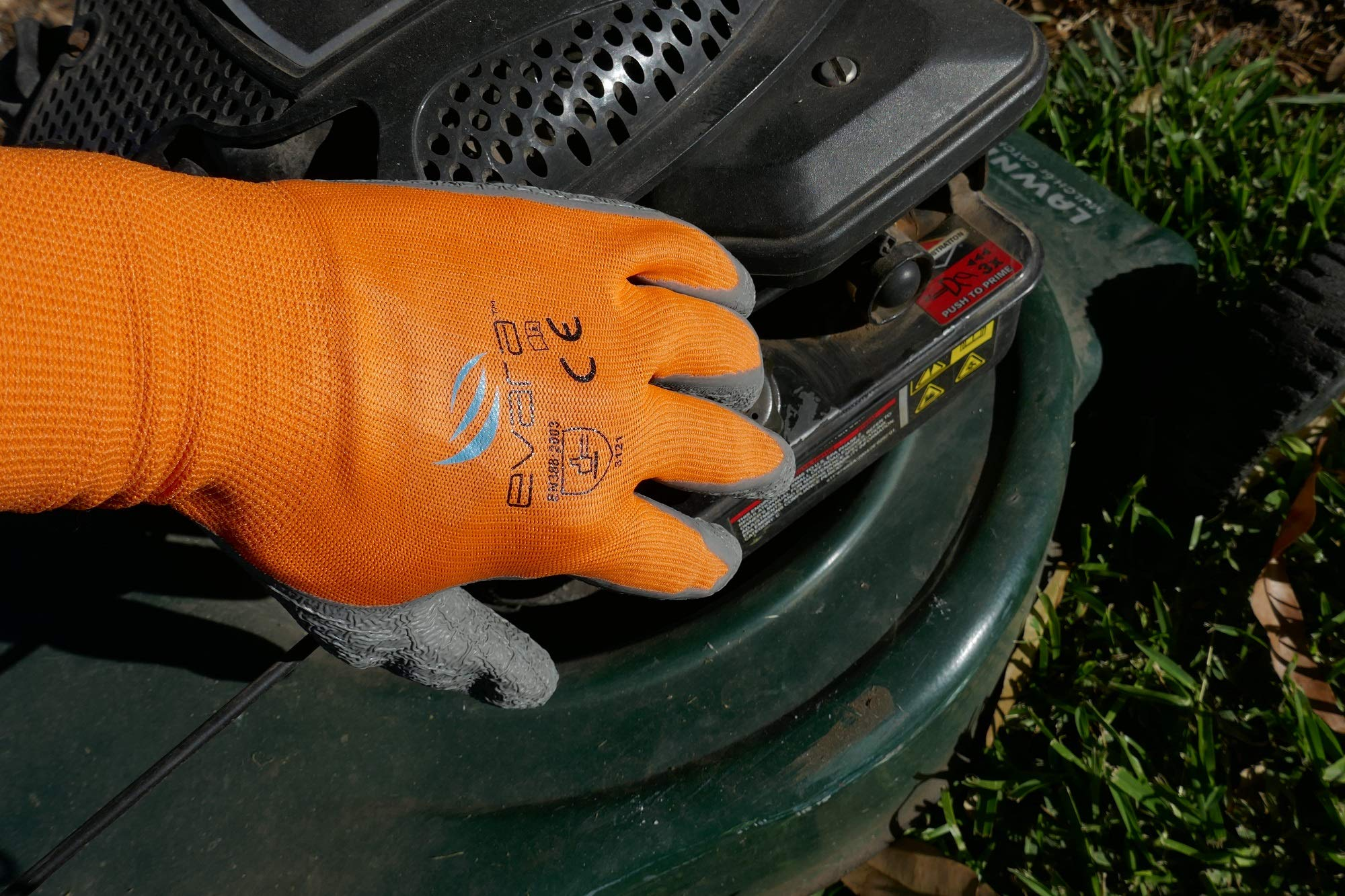 Tough Work and Gardening Gloves for Men and Women(12 pairs per pack) (Latex, Medium) Supreme Hi-vis orange with full thumb dipping by Evara by Evara (Image #4)