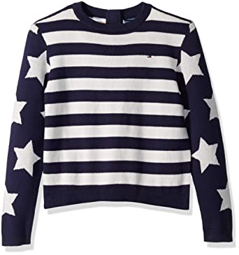 73ecc00d Tommy Hilfiger Girls Sweater with Magnetic Button Closure, snow white/multi  X-Small
