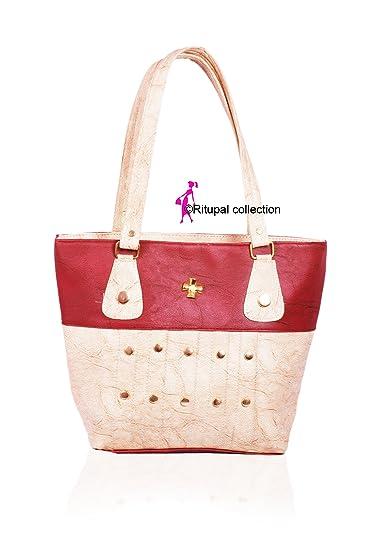 Ritupal Collection Women PU Shoulder bag (Maroon White)  Amazon.in ... e94e51055f888