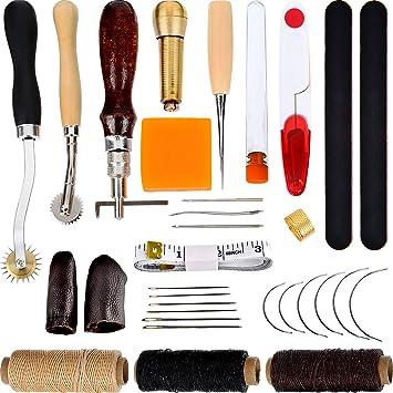Kit de 32 Piezas de Herramientas de Costura a Mano Herramientas de Artesanía de Cuero Herramientas