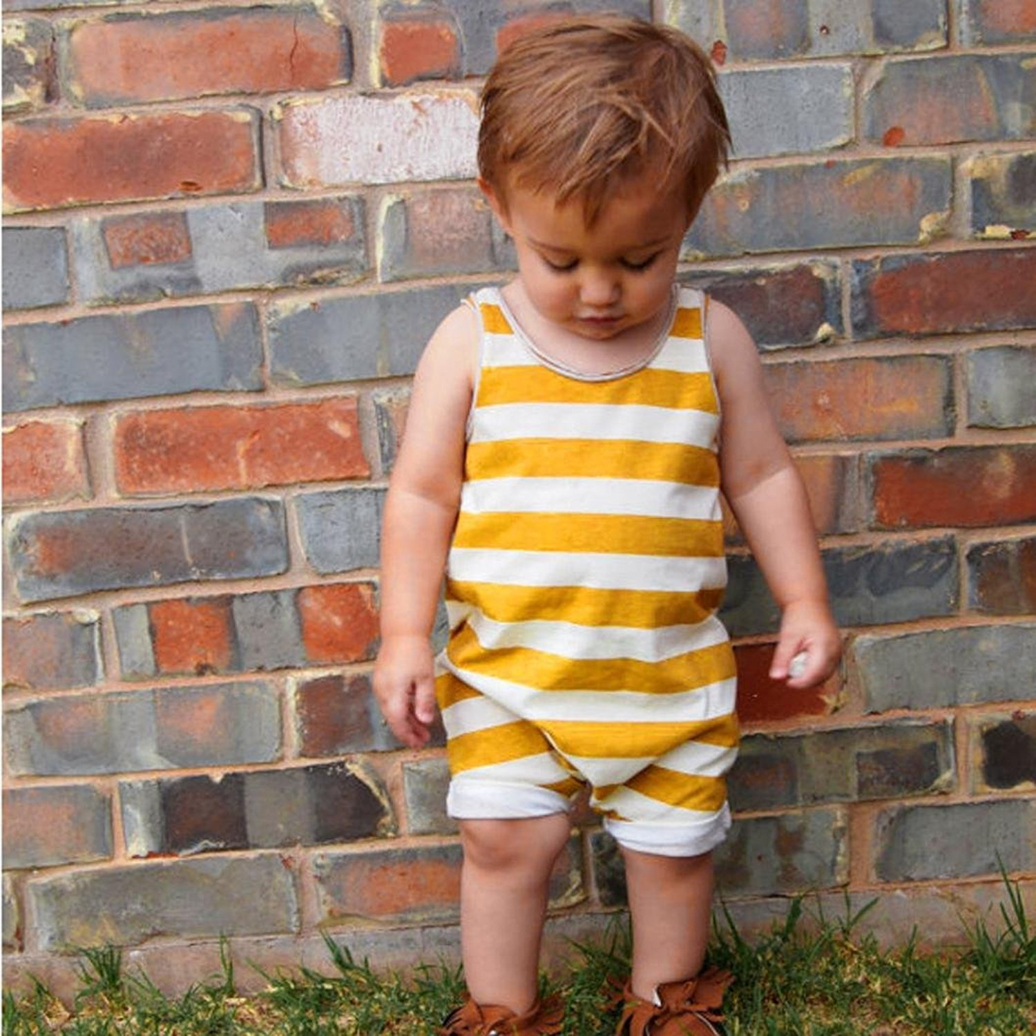 YOUNGER TREE Infant Toddler Baby Boys Girls Romper Sleeveless Yellow Stripe Print Jumpsuit Outfit Clothes