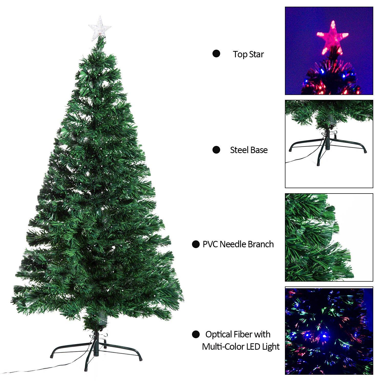 Amazon.com: 5\' Artificial Holiday Fiber Optic / LED Light Up ...