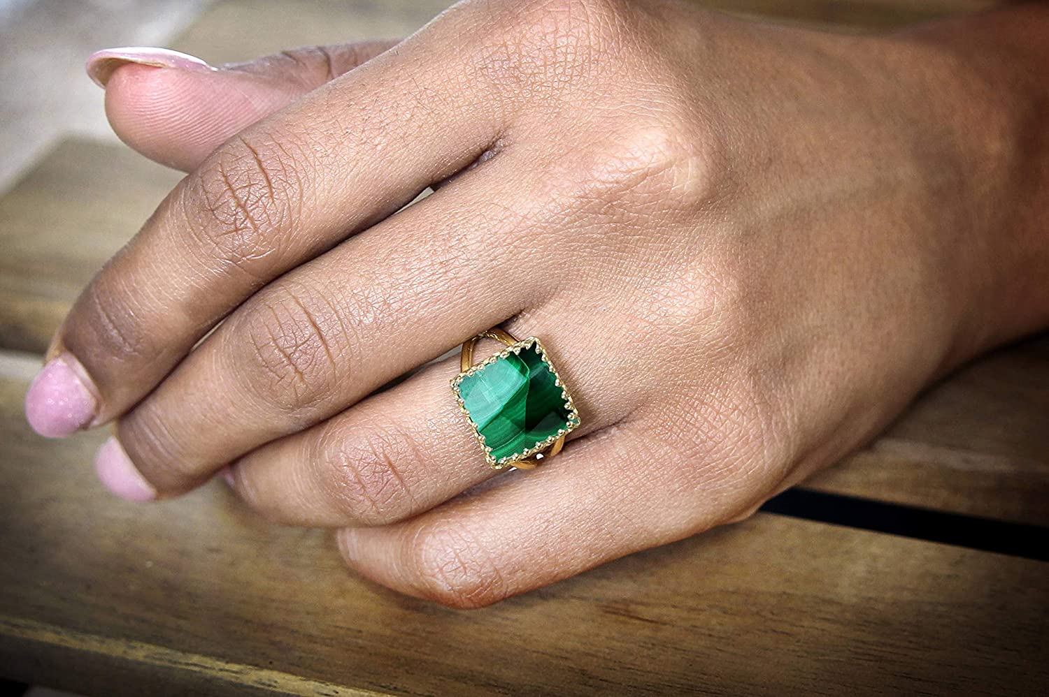 Handmade Gold Jewelry for Any Occasion Stunning Marbled Malachite Ring in 14k Gold-filled Band Party Ring Gift Ring Free Gift Box Anemone Jewelry Classy 14k Gold Rings for Women Casual Ring
