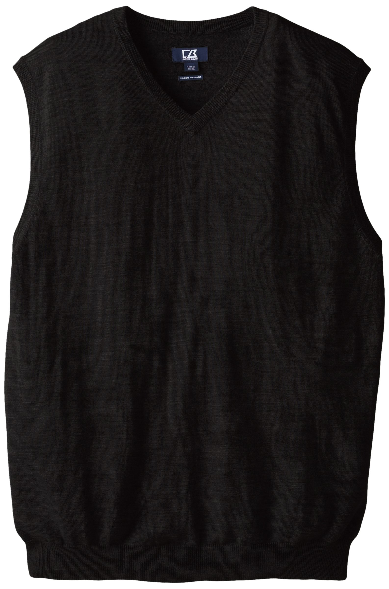 Cutter & Buck Men's Big-Tall Douglas V-Neck Sweater Vest, Black, 2X/Big