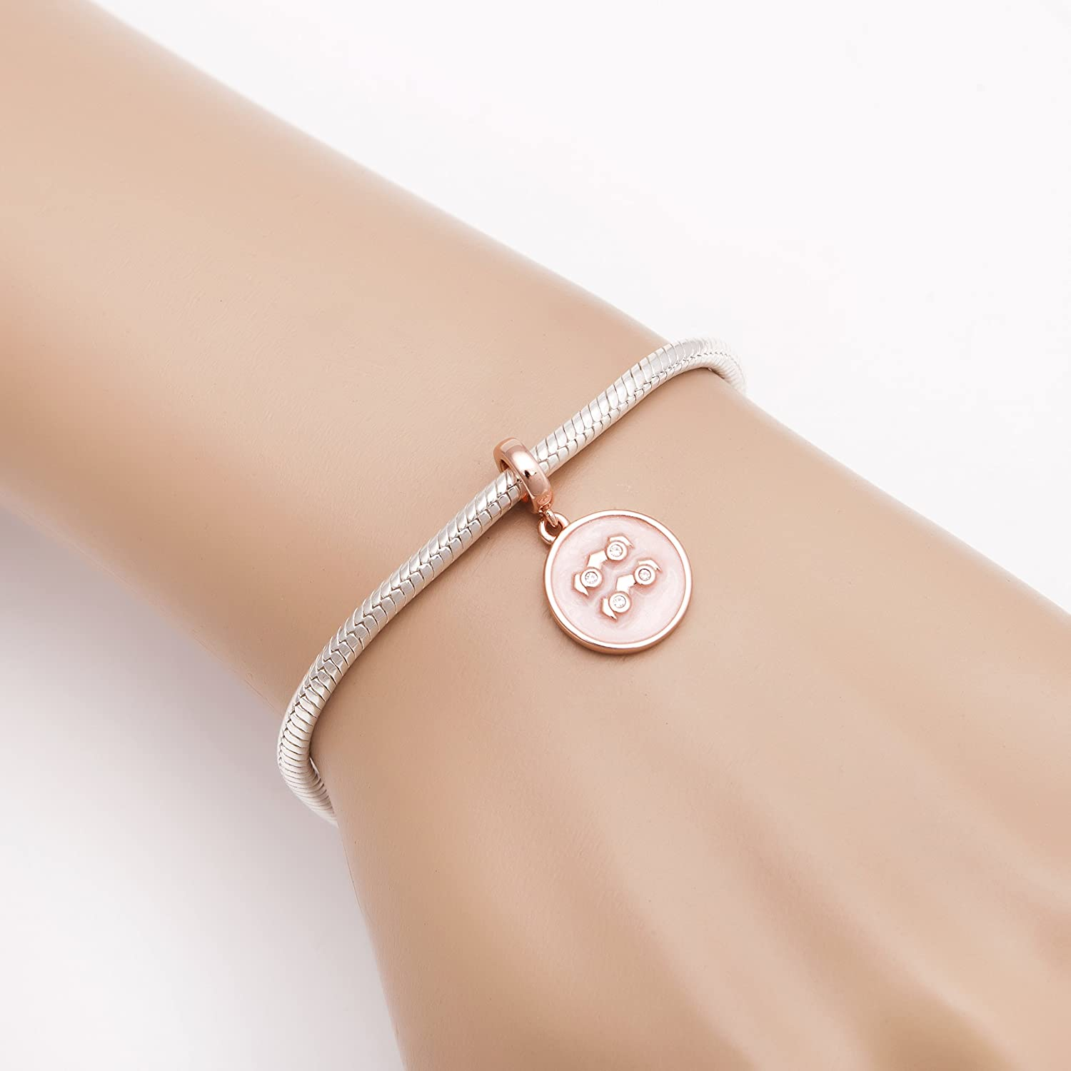 Soulbeads Rose Gold Zodiac Sign Charms 925 Sterling Silver Birthday Wise Owl Family Tree Charms Constellation Beads Fits Bracelet
