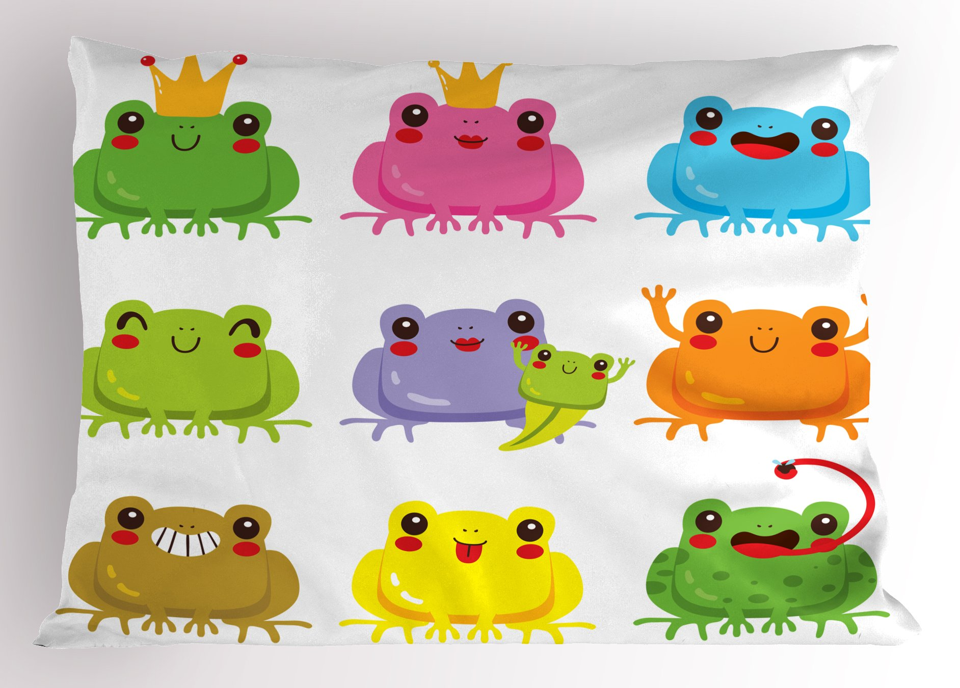 Lunarable Kawaii Pillow Sham, Colorful Kawaii Frogs with Different Poses Cute King and Queen Amphibian Animals, Decorative Standard Size Printed Pillowcase, 26 X 20 inches, Multicolor
