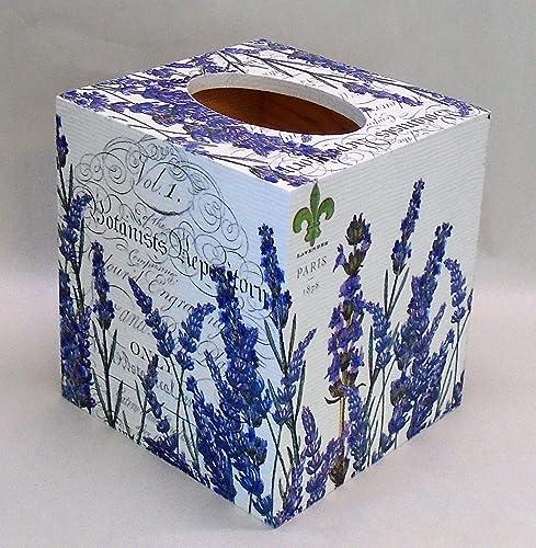 Handmade Decoupage Wood Tissue Box Cover, Lavender, Paris