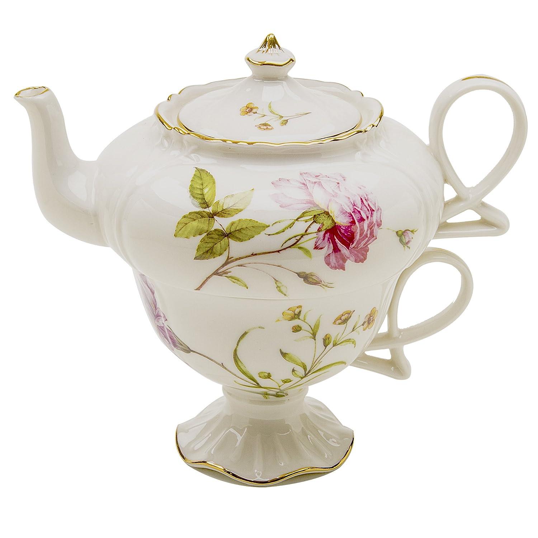 Grace Teaware Porcelain 3-Piece Tea For One (Dahlia)