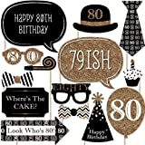 Adult 80th Birthday - Gold - Photo Booth Props Kit - 20 Count
