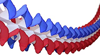 product image for 6-Pack Patriotic Red, White, and Blue 12 Foot Tissue Paper Cross Garland Party Decoration