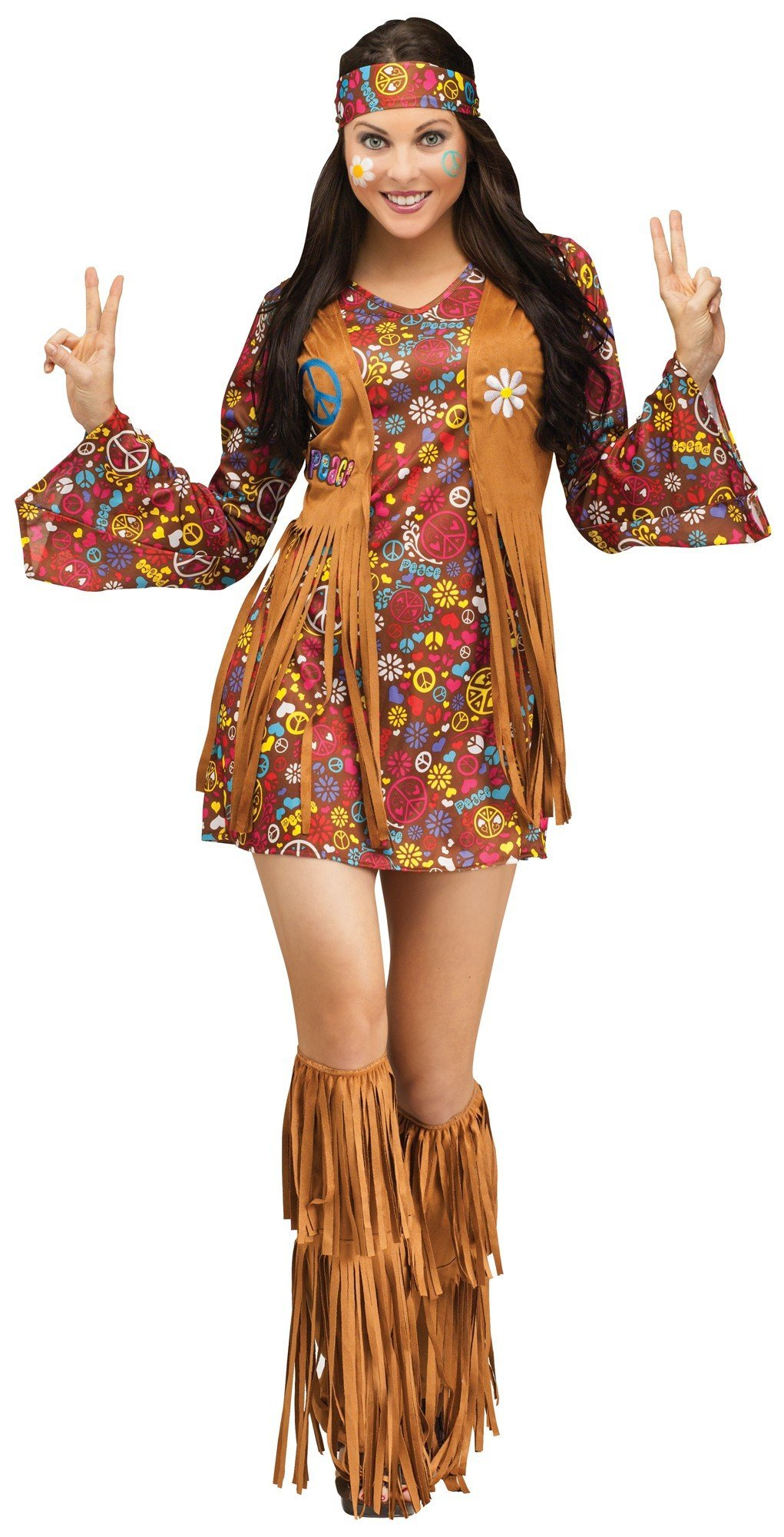 Fun World Costumes Women's Peace Love Hippie Adult Costume, Brown, Small/Medium