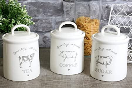 Set of 3 country retreat ceramic tea coffee sugar storage jars