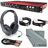 Focusrite Scarlett 18i20 USB 2.0 Audio Interface W/ Basic Bundle, Cables, Samson Stereo Headphones, FiberTique Cleaning Cloth