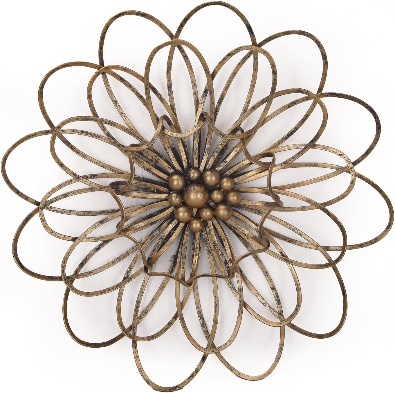 Adeco DN0018 Flower Urban Design Metal Wall Decor for Nature Home Art Decoration & Kitchen Gifts, Light Bronze