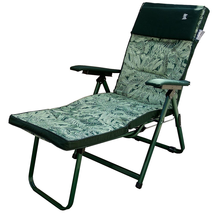 Dimaplast2000 Madrid Relaxsessel Super Luxus, grün Muster, 176 x 60 x 30 cm