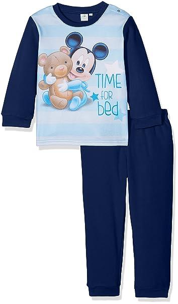 Disney Mickey Mouse Time For Bed, Pijama para Bebés, Azul (Marino),