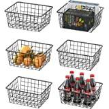 Wire Basket, Warmfill 6 Pack Wire Baskets for Storage Durable Metal Storage Baskets Pantry Organizer Bins Baskets for Kitchen