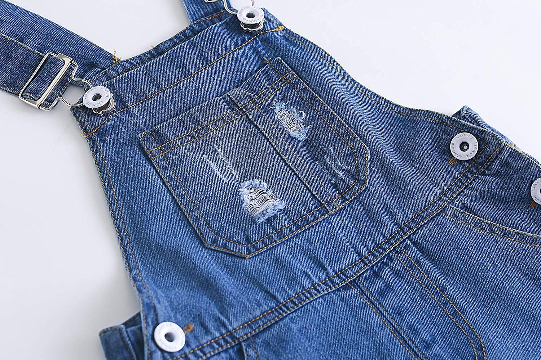 Kidscool Baby /& Toddler Girls//Boys Big Bibs Ripped Hole Summer Jeans Shortalls,Light Blue,18-24 Months