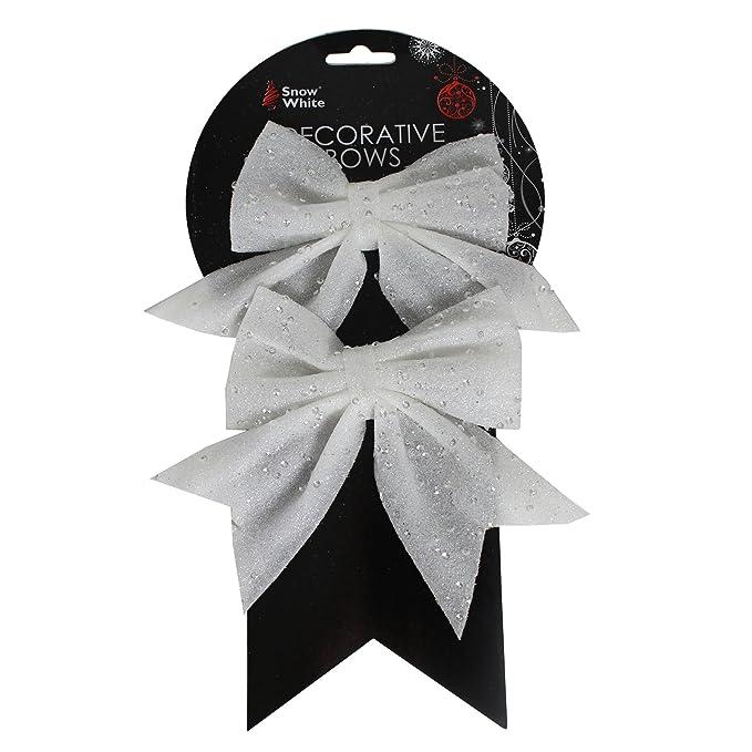Christmas Tree Bows White.Pms Set Of 2 12 X 16cm White Christmas Bows On Card
