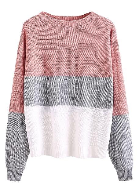 a3f998a5ee7 Milumia Women's Drop Shoulder Color Block Textured Jumper Casual Sweater