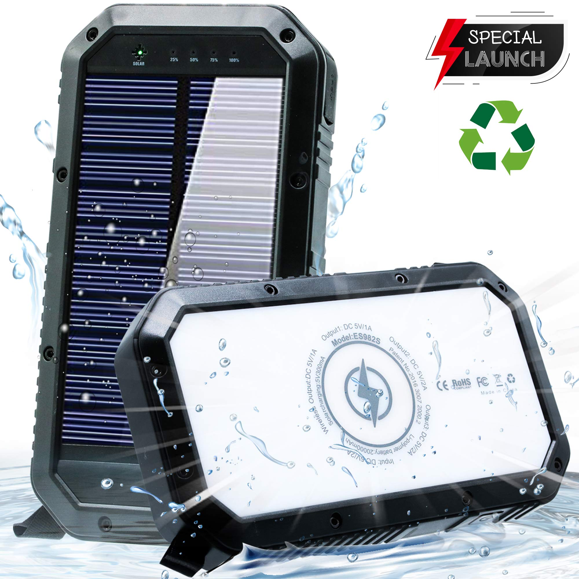 Solar Phone Charger 20000mAh Solar Charger for cell phone - Wireless Solar Power Charger Solar Powered Phone Chargers iphone 6+times - [UPDATED] Portable Power Bank -Plus 36 Led Light Solar Power Bank by Solar Concepts