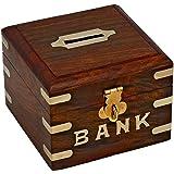 RoyaltyRoute handgemachte hölzerne Tresor Geld Boxen Sparschwein Box Geld Bank Messing-Inlay